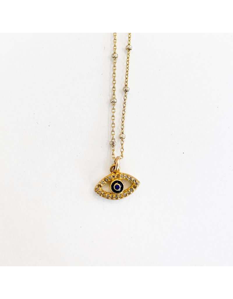 SENNOD Diamond and Enamel Evil Eye Necklace