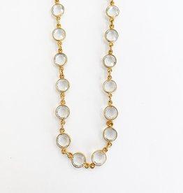 """SENNOD 30"""" Crystal Bezel Necklace"""
