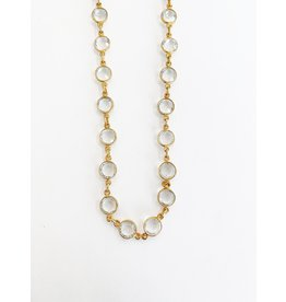 SENNOD Crystal Bezel Chain Necklace