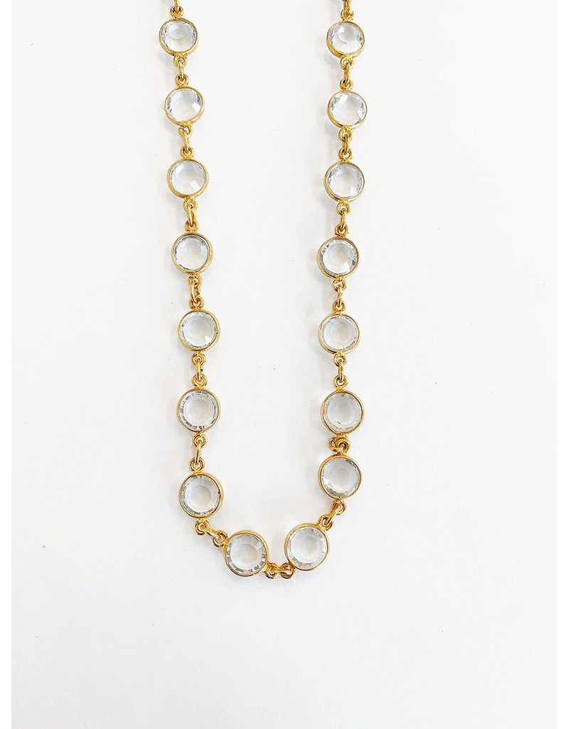 SENNOD Crystal Bezel Necklace