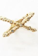 302 COLLECTION Diamond Beaded Criss Cross Ring