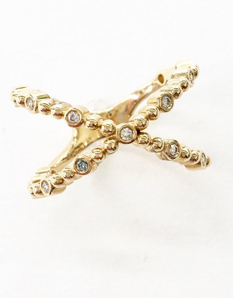 LAUREN FINE JEWELRY Diamond Beaded Criss Cross Ring