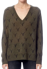360 SWEATER Emerson Olive/Charcoal Print Sweater