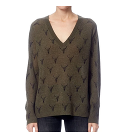 Emerson Olive/Charcoal Print Sweater