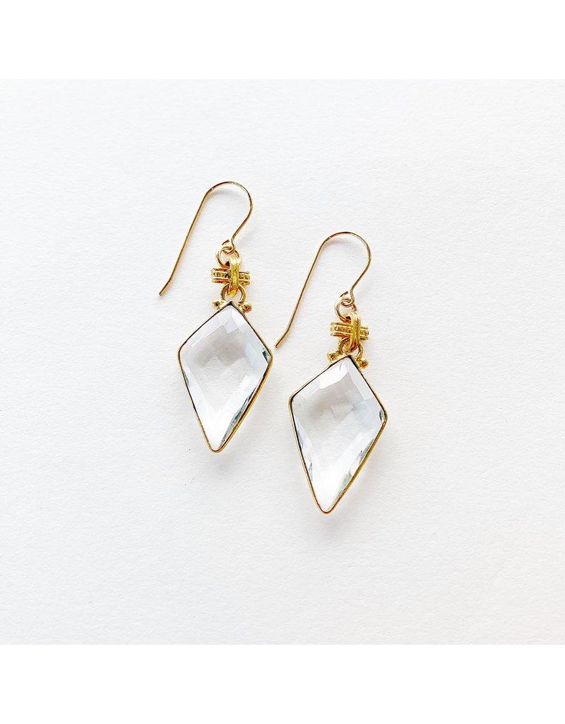 SENNOD Crystal Quartz Kite Earrings