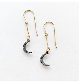 SENNOD Gunmetal Diamond Crescent Earrings