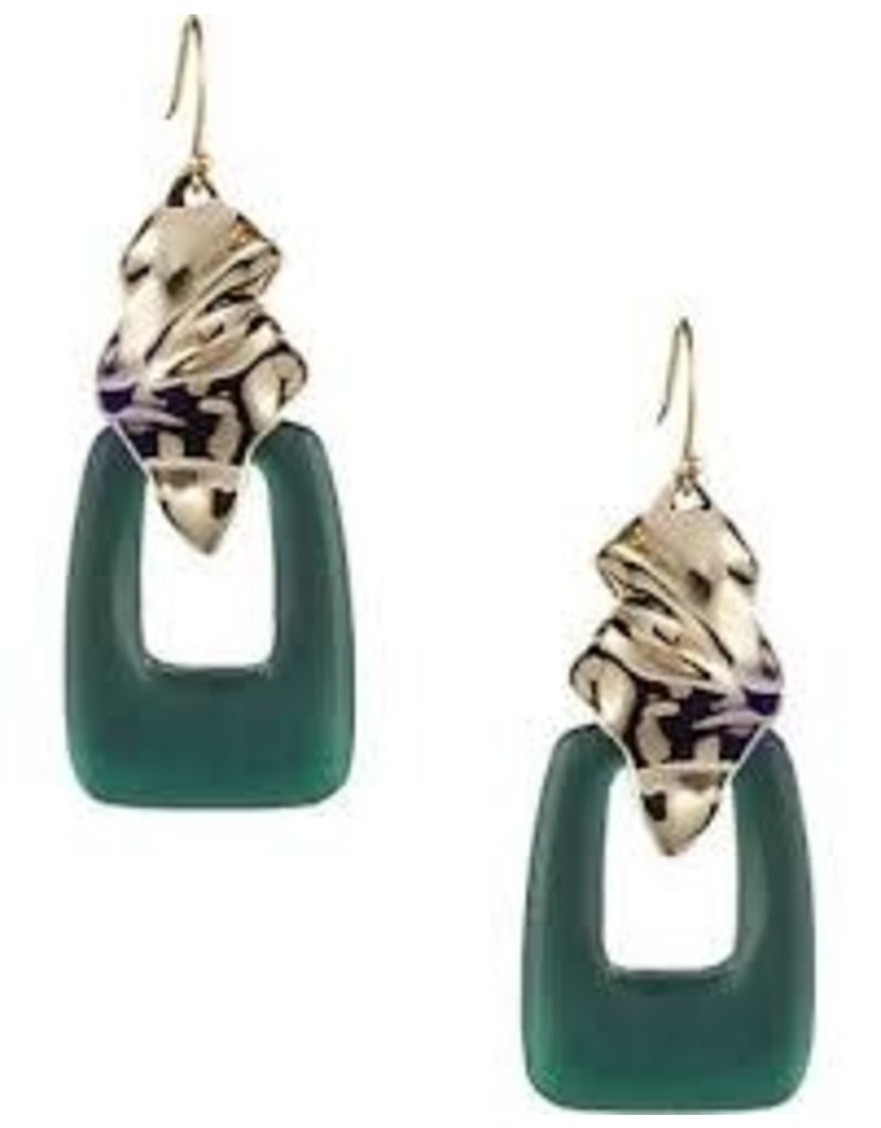ALEXIS BITTAR Crumpled Gold Wire Earring - Forest Green