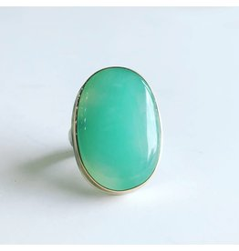 JAMIE JOSEPH Large Vertical Oval Smooth Chrysoprase Ring