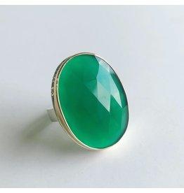 JAMIE JOSEPH Vertical Rose Cut Green Onyx Ring