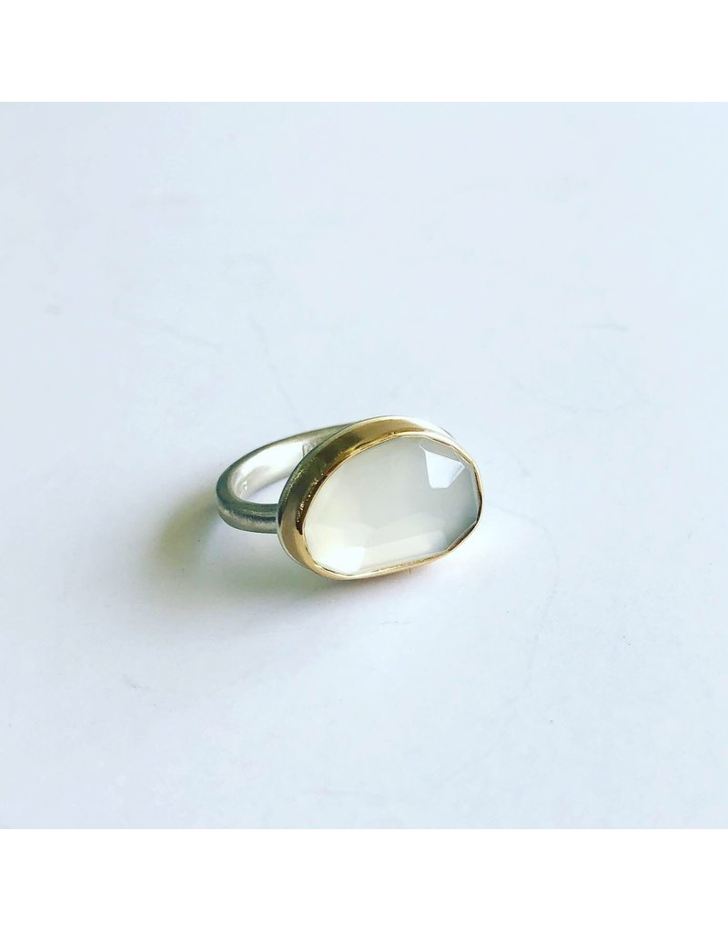 JAMIE JOSEPH Asymmetrical Faceted White Moonstone Ring