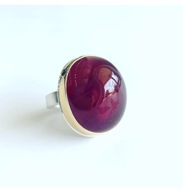 JAMIE JOSEPH Large Vertical Oval Smooth African Ruby Ring