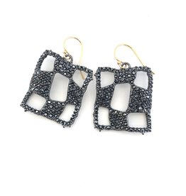 ALEXIS BITTAR Pave Checkerboard Wire Earrings
