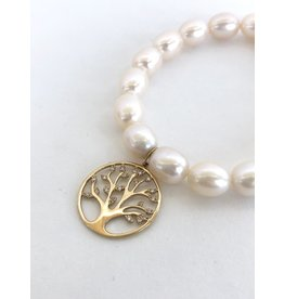 SYDNEY EVAN White Pearl & Tree of Life Bracelet