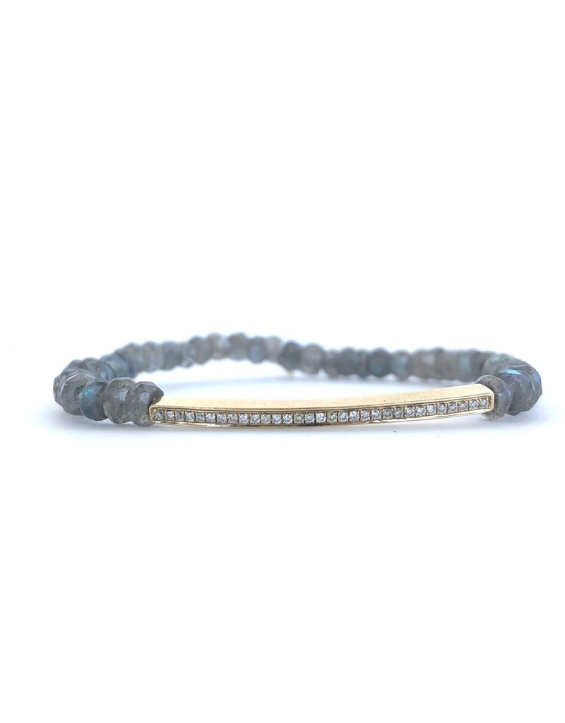 SYDNEY EVAN Labradorite & Diamond Bar Bracelet