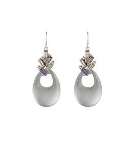ALEXIS BITTAR Crystal Baguette Cluster Drop Earring - Silver