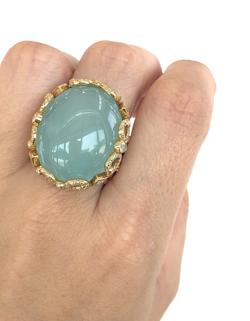 ERICA COURTNEY Secret Aqua Chalcedony Ring