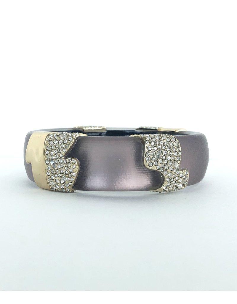 ALEXIS BITTAR Crystal Encrusted Sectioned Hinge Bracelet - Rose Grey