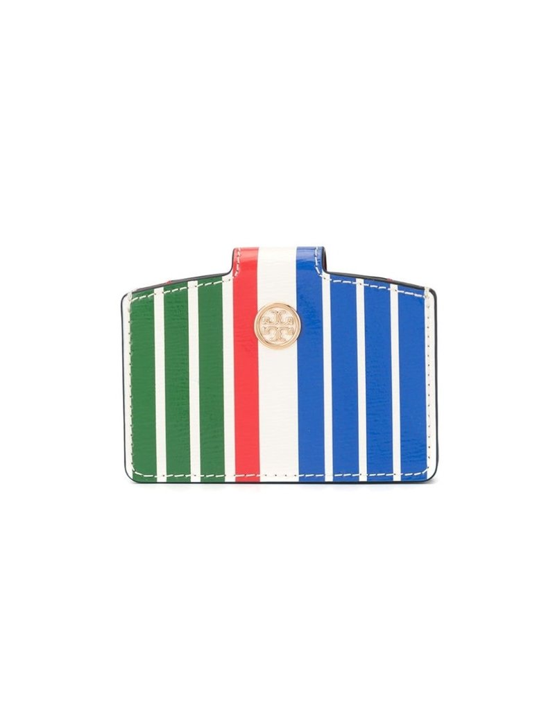 TORY BURCH Robinson Stripe Accordion Wallet Green Sunrise Stripe