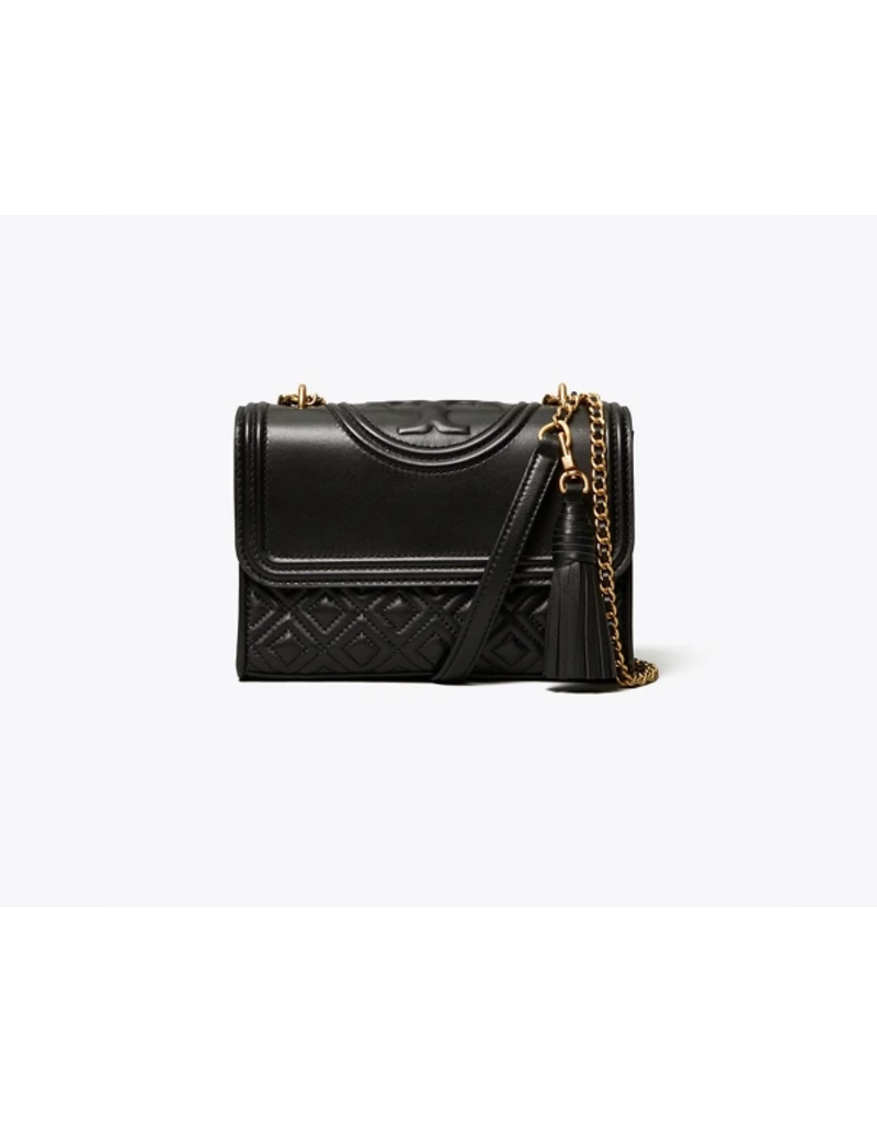 good out x classic chic new authentic TORY BURCH Fleming Small Convertible Shoulder Bag - Black