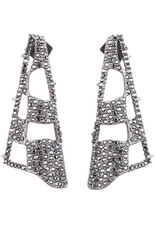ALEXIS BITTAR Pave Checkerboard Fan Post Earring