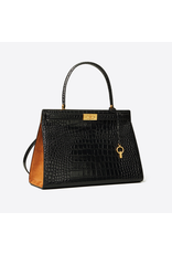 TORY BURCH Lee Radziwill Bag - Black Alligator with Camel Suede Sides