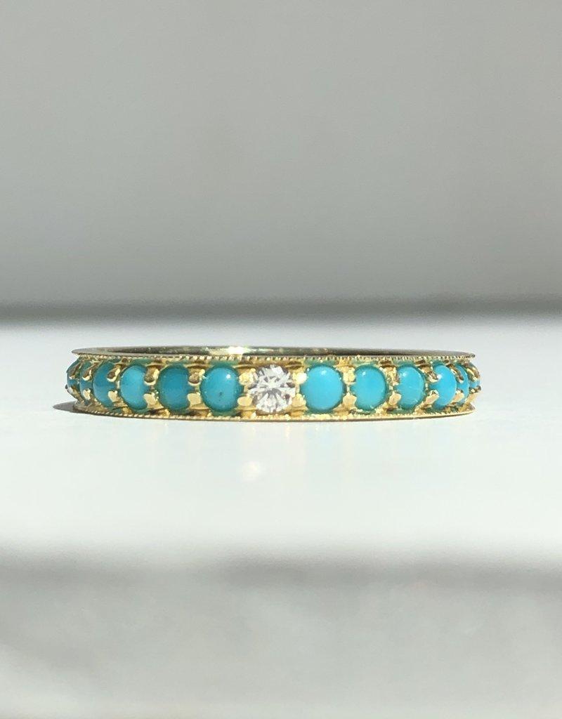 ILA Dunbar Turquoise & Diamond Eternity Band Ring