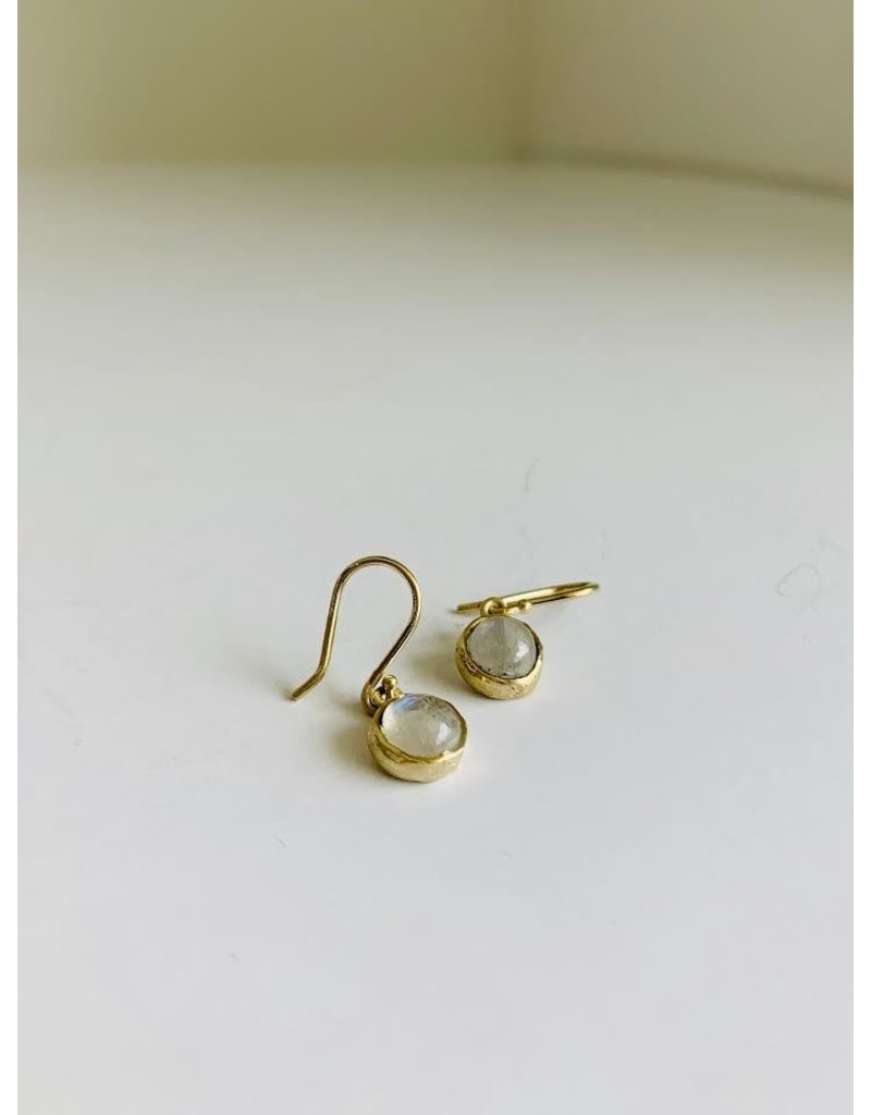 PAGE SARGISSON 10KT Moonstone Bezel Hook Earring