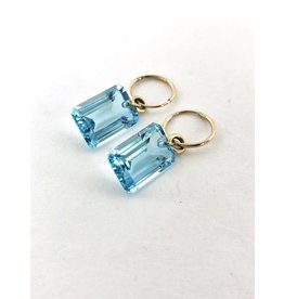 BREVARD Emerald Cut Blue Topaz Earrings