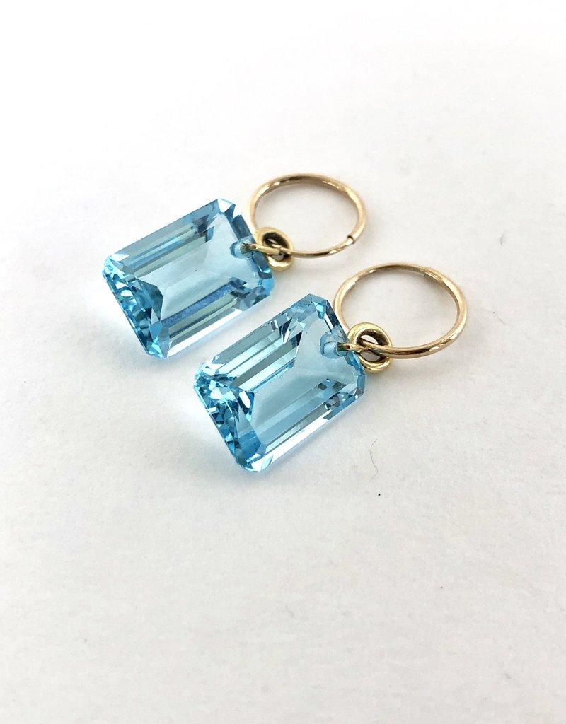 BREVARD Emerald Cut Blue Topaz Earrings