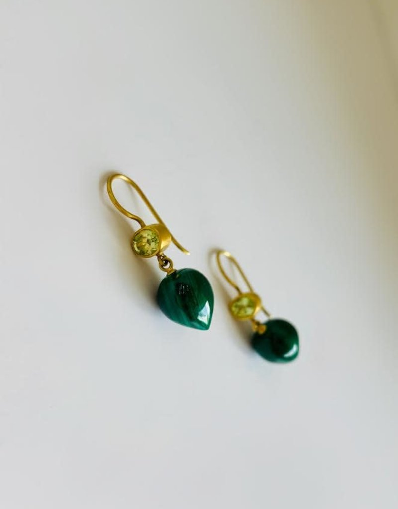 MALLARY MARKS Apple & Eve - Malachite and Chrysoberyl Earrings