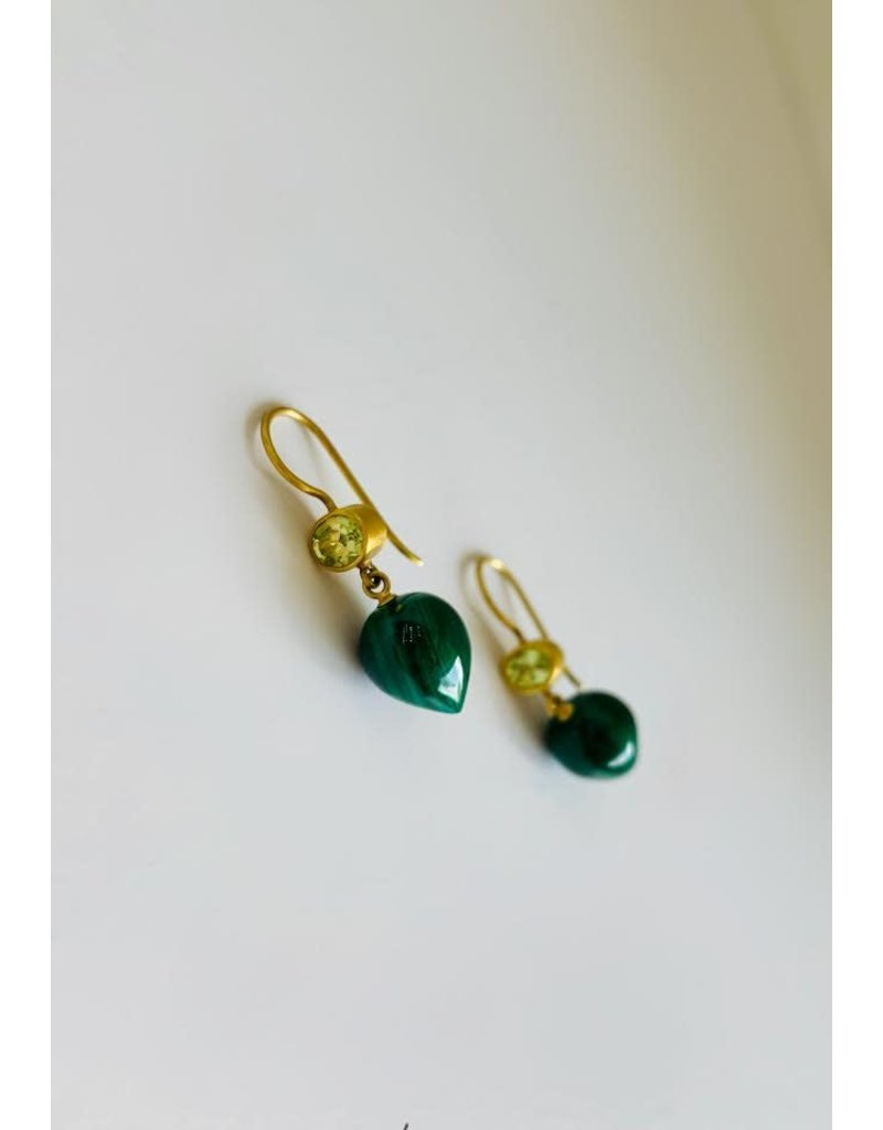 MALLARY MARKS Apple & Eve Earrings Malachite and Chrysoberyl