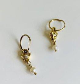 BREVARD 18K Triangle Drop w/ Pearl Earrings