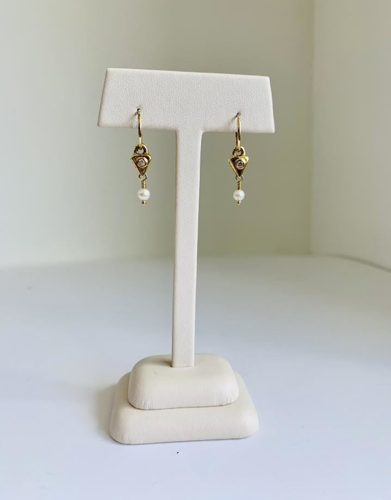 BREVARD 18K Triangle Drop w/ Pearl Earrings