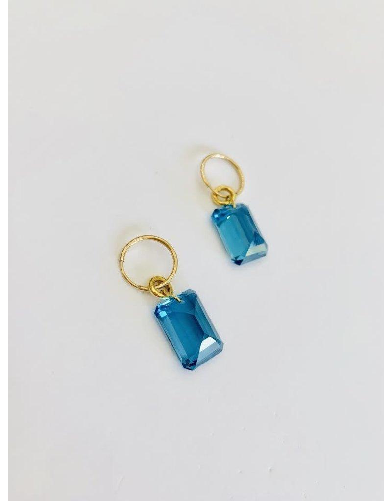 BREVARD Drilled Stone London Blue Topaz Earrings