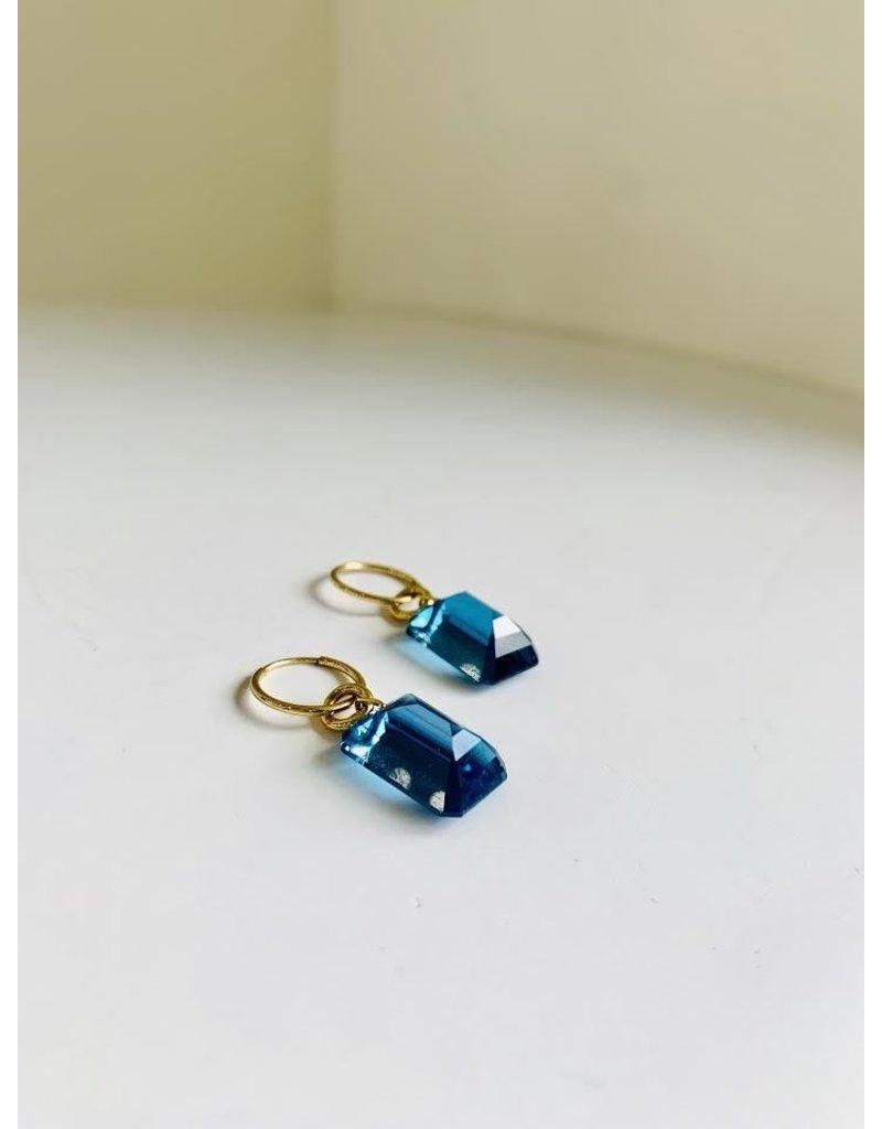 BREVARD Drilled Emerald Cut London Blue Topaz Earrings