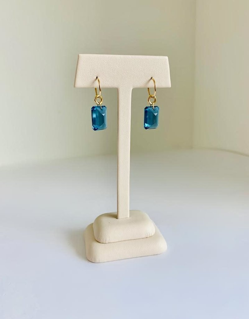 BREVARD Drilled Emerald Cut London Blue Topaz Earrings