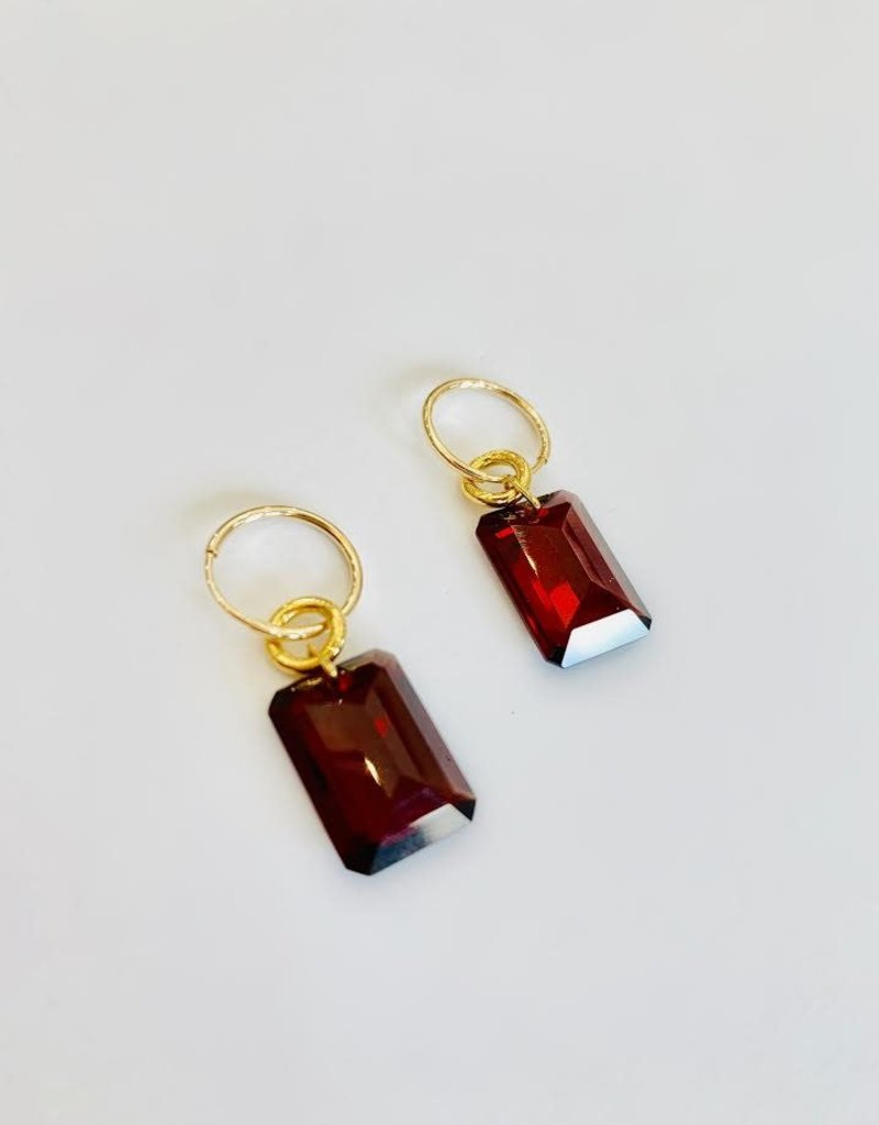BREVARD Large Emerald Cut Garnet Earrings
