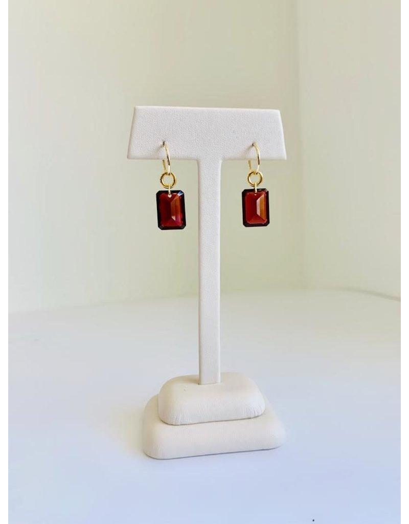 BREVARD Drilled Emerald Cut Garnet Earrings