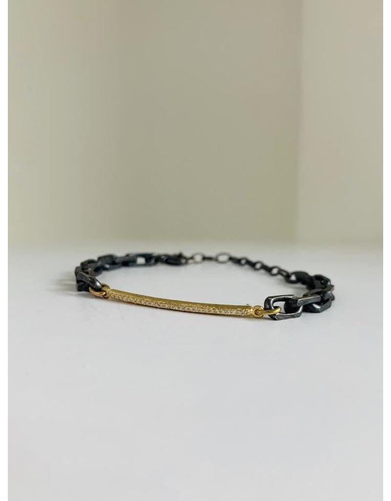 ERICA MOLINARI 18K Slim White Diamond Bar Bracelet