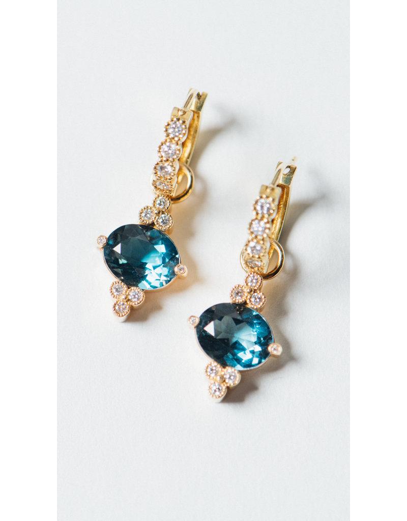 ERICA COURTNEY Gumdrop Earrings in London Blue Topaz