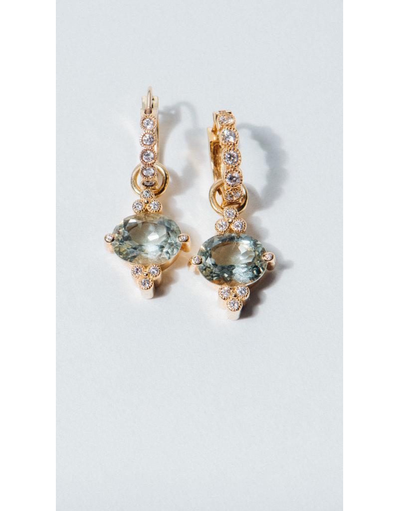 ERICA COURTNEY Gumdrop Earrings in Green Amethyst