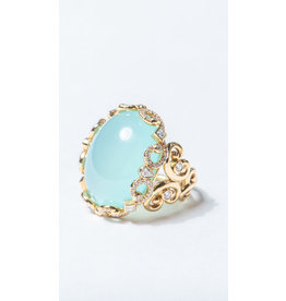 ERICA COURTNEY Secret Aqua Chalcedony Ring
