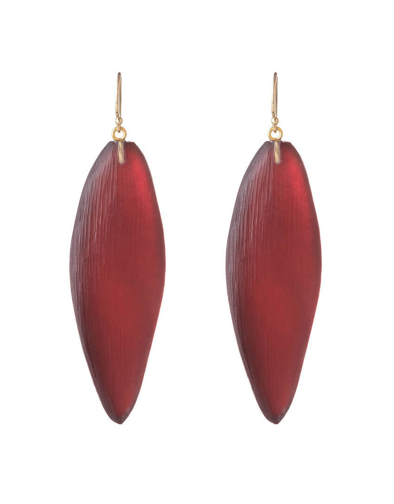ALEXIS BITTAR Long Leaf Earring - Wine Red