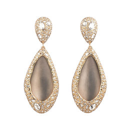 ALEXIS BITTAR Crystal Encrusted Tear Drop Clip-on