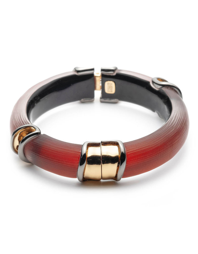 ALEXIS BITTAR Two Tone Sectioned Hinge Bracelet - Wine Red