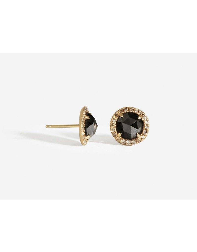 SHAESBY Rose Cut Black Diamond Studs w/ Champagne Diamonds