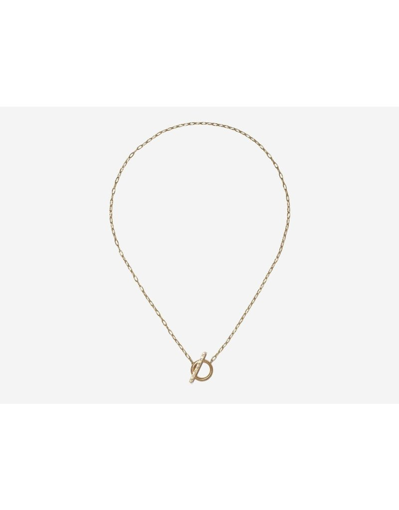 SHAESBY Toggle Necklace w/ White Diamonds
