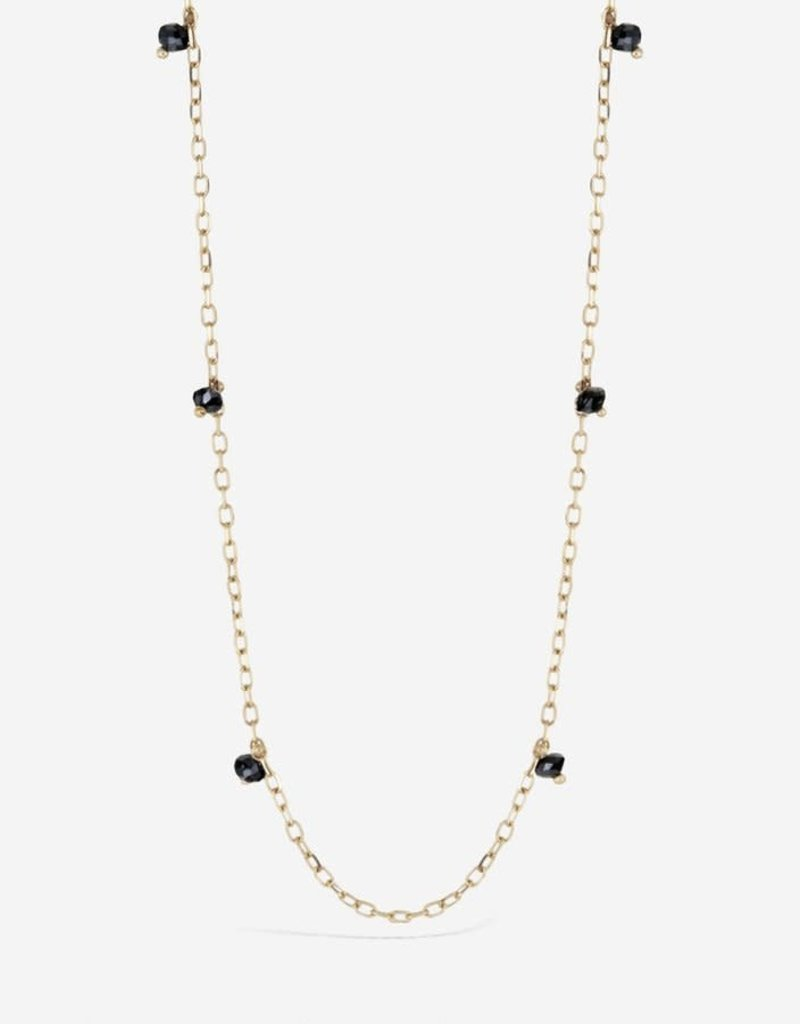 SHAESBY Black Diamond Rondelle Floater on Diamond Cut Chain