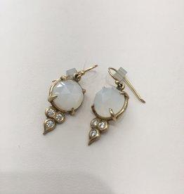 ERICA MOLINARI 18K Rose Quartz  Diamond Triplet Earring