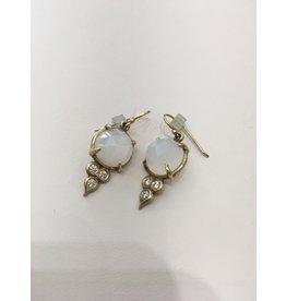 ERICA MOLINARI 18K Milky Moonstone Diamond Triplet Earring
